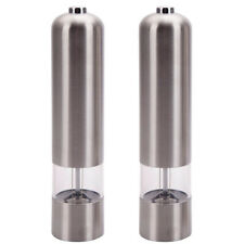 2pcs Stainless Steel Electric Automatic Pepper Grinder Mill Salt Grinder Silver