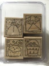Stampin Up Festive Four Snowman Pumpkin Hearts Easter Rubber Stamp Set 2004