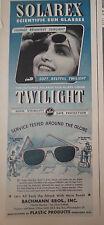 1944 Bachmann Bros Solarex Twilight Sunglasses Sun Glasses Eye Fashion Ad