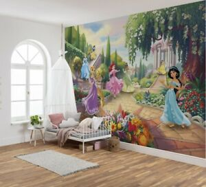 Girls bedroom decor photo wallpaper feature wall Disney Princess   Without glue