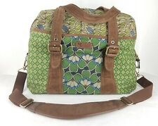 FOSSIL Duffel Bag Floral Green Brown Canvas Leather Accents Weekender Carry-On