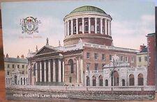 Irish Postcard FOUR COURTS Law Bldg Liffey Dublin Ireland City Arms Chas L Reis