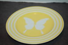 8 Fitz & Floyd 1975 Papillion Yellow Band Butterfly Center Salad Plates