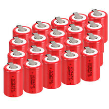 20PCS 2200mAh NiCd 4/5 SC Sub C 1.2V Ni-Cd Rechargeable Battery & Tab Red Color