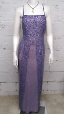 Papell Boutique Women's Size 14 Purple Beaded/Sequins Silk Evening Gown