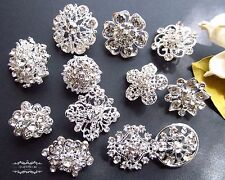 12 Brooch Lot Mixed Sliver Rhinestone Pin Crystal Wholesale Wedding Bouquet DIY