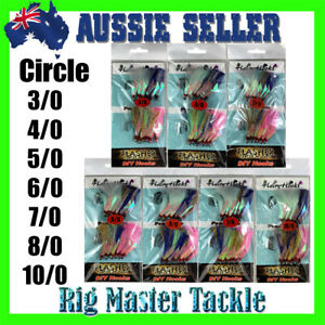 Circle DIY Hairy Hooks Flasher 3/0 4/0 5/0 6/0 7/0 8/0 10/0 12-packs AUS Stock