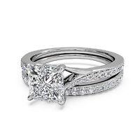 1.50 ct Bridal-Cut Diamond Engagement Ring Sets 14K White Gold Princess Size 7 8