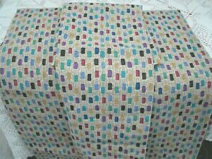 Twin Sheet Set [4 Pcs]--Taupe with Colorful Square Print--No Iron--NEW-Crisp