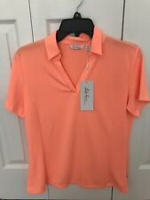 Lady Hagan Shirt V Neck Polo Womens Medium New