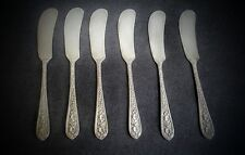 6 BUTTER SPREADER KNIVES STIEFF STERLING SILVER CORSAGE PATTERN - EXCELLENT