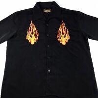 Vintage DRAGONFLY Embroidered Burning Flames Short Sleeve Disco Club Shirt Black