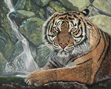 Original Artwork oil painting Tiger and waterfall on canvas panel, animal 8x10""