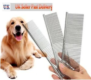 New Pet Puppy Dog Cat Metal Double Row Teeth Brush Grooming Hair Comb Fur Rake