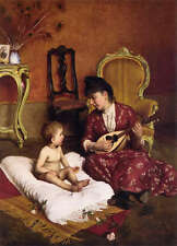 Dream-art Oil painting art beautiful young mother Playing guitar with her baby