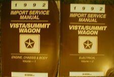 1992 Dodge Vista Summit Wagon Shop Manual Vol 1 2 Set 92