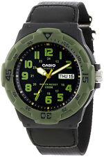 Casio Analog Sport Day Date Neo Display Black Cloth Band Watch MRW-200HB-1BV New