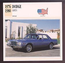 1976-1980 Dodge Aspen Car Photo Spec Sheet Info Stat ATLAS CARD 1977 1978 1979
