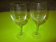 Rare Pair 1988 NBC KSNT Olympic Wine Glasses Crystal Glass Topeka KS Station