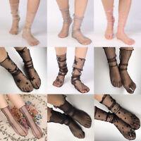 Frauen weiß Fischnetz Knöchel hohe Socken Lady MeshLace Fish net Short Socken  J