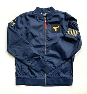 Under Armour Project Rock Freedom Bomber Jacket Navy 1350992-408 Men Size M