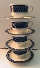 Mikasa Set of Four Potters's Touch Aztec Blue Footed Cups & Saucers CB009