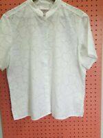 Women's peter pan collar blouse, lg LIZSPORT Pretty white on white