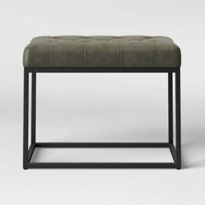 Trubeck Tufted Metal Base Ottoman Faux Leather Gray/Black - Project 62