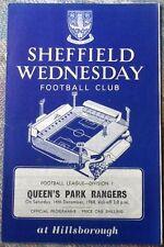 1968 SHEFFIELD WEDNESDAY v QUEENS PARK RANGERS programme