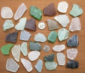 genuine surf tumbled beach sea glass 33 Large craft grade pieces mixed colors