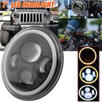 """Schwarz 7"""" Haupt LED Scheinwerfer  Hi/lo Beam für Jeep Wrangler Harley Honda"""