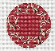 """LEE  for a Monogram ~ 3"""" Rd. Deep Red Background handpainted Needlepoint Canvas"""