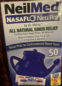 NeilMed NasaFlo Neti Pot Sinus Relief Plus 50 Premixed Saline Packets