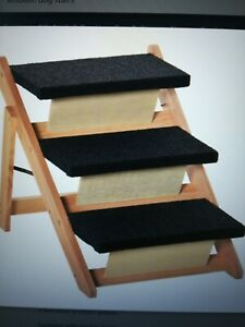 Foldable Wooden dog stairs/slope. Dimensions; H 50 x 60L x 47W cm Step 40L x24W