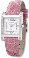 Ladies Charles Hubert 0.42ctw Diamond 29x28mm Bezel Pink Leather Watch