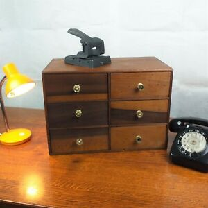 Vintage Desk Top 6 Drawer Cabinet Wood Office Collector Crafting