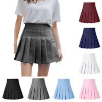 Women Fashion High Waist Pleated Mini Skirt Slim Waist Casual Tennis Skirt AU