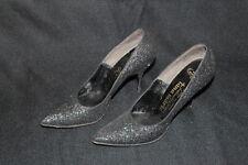 Vintage DeLiso Debs ARIA Black Glitter Pumps Heels Shoes Ladies 8 Tana Marie