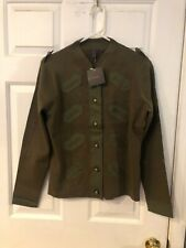 LULU WOMENS ARMY GREEN LONG SLEEVE BUTTON SWEATER WITH BUTTON DETAIL SIZE M NWT