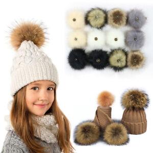 2PCS DIY 12CM Cute Faux Rabbit Fur Pom Pom Ball Pompoms Knitting Hat Accessories