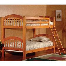 Oak Twin Bunk Beds Convertible Kids Wooden Bedroom Furniture Dorm Bunkbed Ladder