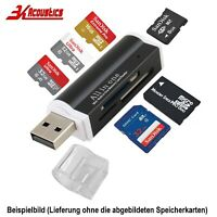 Schwarz Mini Alu Kartenleser USB Micro SD MMC SDHC M2 Card Reader Adapter Win