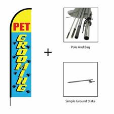 Pet Grooming Feather Flag Swooper Banner Pole Kit Advertis
