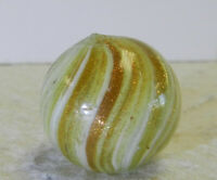 #12852m Larger .81 Inches German Handmade White Onionskin Lutz Marble