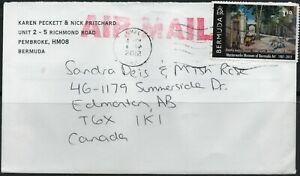NICE COVER SENT FROM BERMUDA TO EDMONTON, CANADA.  2012