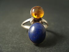 VINTAGE Navajo LAPIS LAZULI TURQUOISE AND AMBER Silver Ring Old
