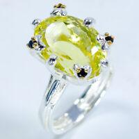Natural Lemon Quartz 925 Sterling Silver Ring Size 7.25/RS18-0025
