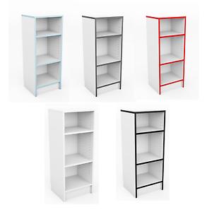 Bookcase Shelving Unit Display Shelves  White Red Grey Black Blue Office