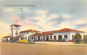 Meridian Michigan 1946 Postcard Union Train Station Depot