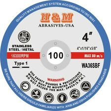 """100 4-inch x 1/16"""" x 5/8"""" H&M Abrasives Cut-off Wheel for Angle Grinder"""